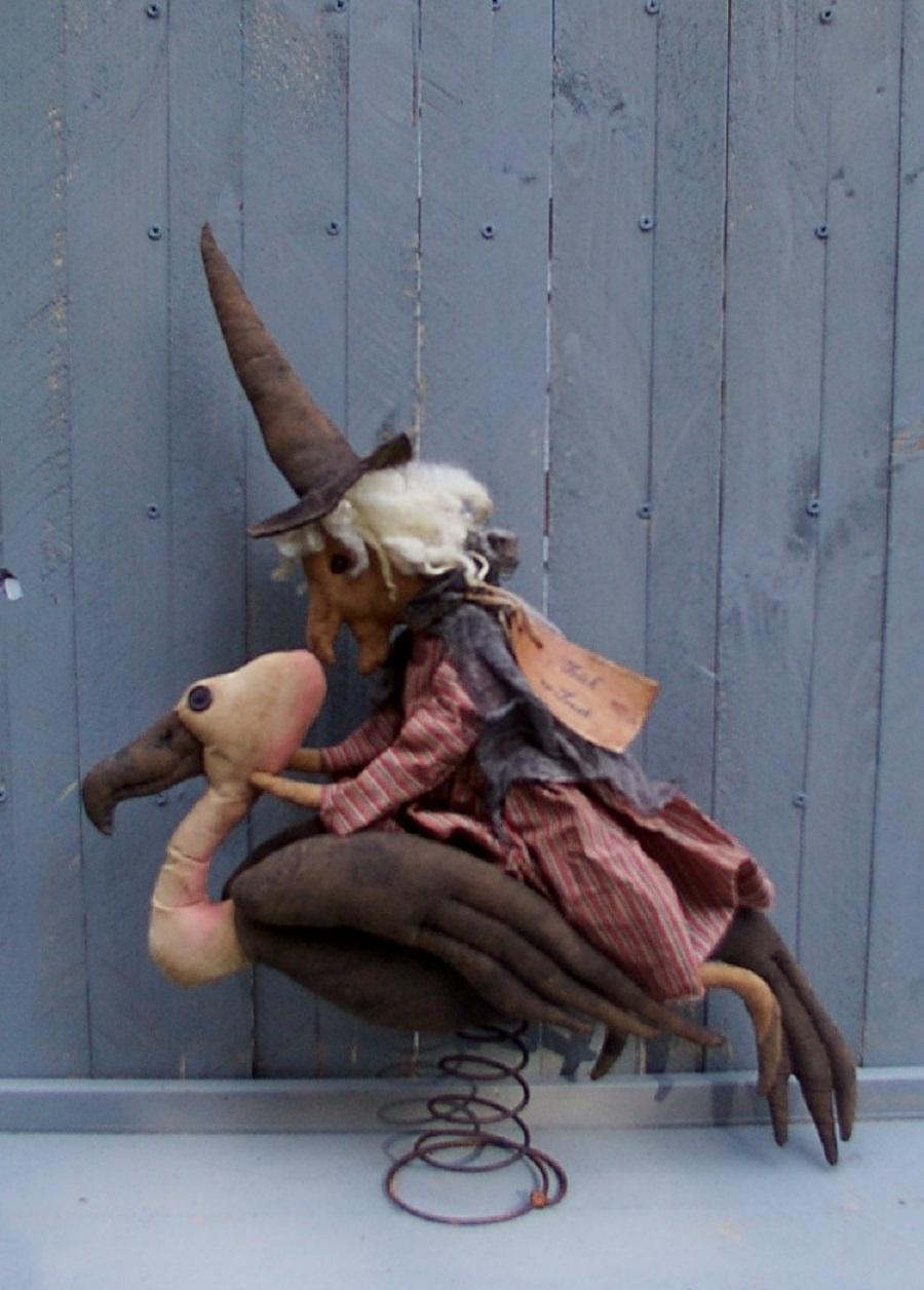 Witch on Buzzard Halloween / Fall Pattern