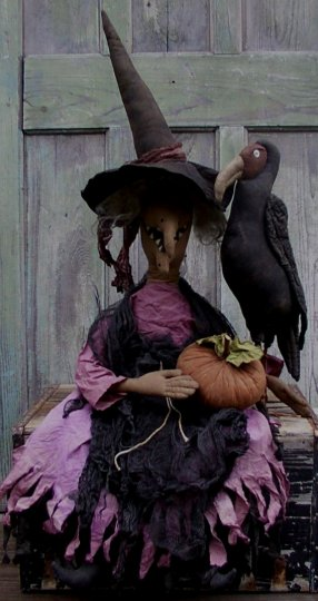 Witch Agatha & her Buzzard Halloween / Fall Pattern