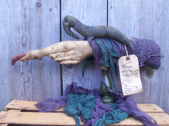 An Old Hag's Hand and her Crow Halloween / Fall Pattern