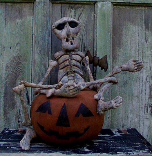 Skeleton on a Jack Halloween / Fall Pattern