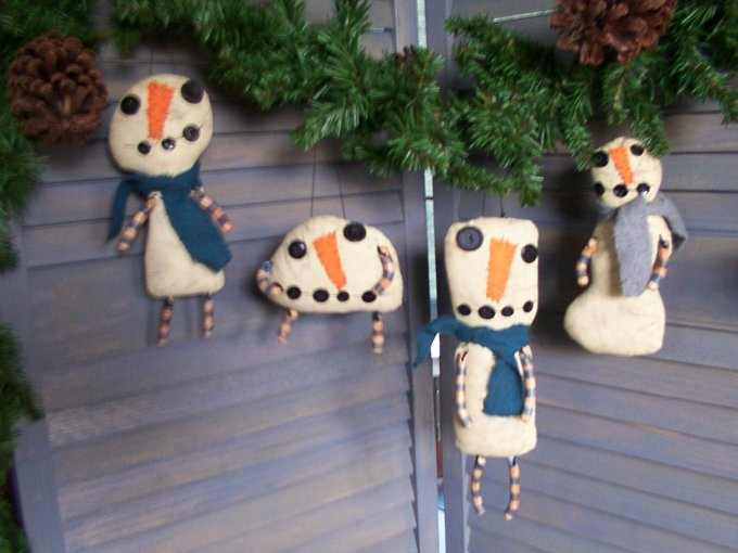 The Flakes Snowmen Ornaments Pattern
